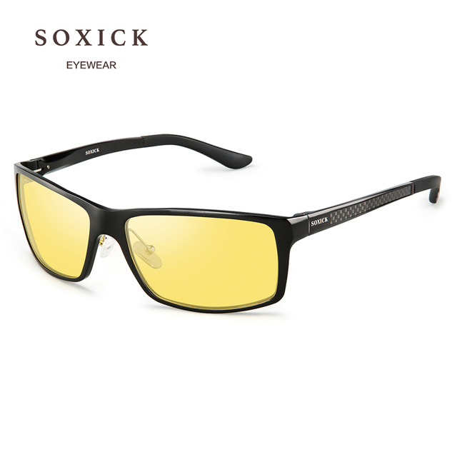 46981b74e7 SOXICK Brand Night Version Polarized Sunglasses Yellow Lens Anti Glare  Safety Men Women Driving Glasses Handmade