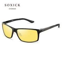SOXICK Brand Night Version Polarized Sunglasses Yellow Lens Anti Glare Safety Men Women Driving Glasses Handmade Sport Eyewear
