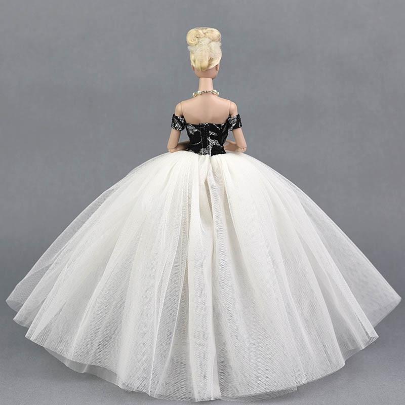 Black White Wedding Dress Clothes for Barbie Doll Princess Evening ...