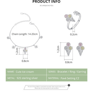 Image 2 - bamoer 4 pcs Ice Cream Jewelry Sets for Women Summer Collection 925 Sterling Silver Earrings Finger Rings and Necklace ZHS117