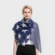 Winfox 2018 New Fashion Lightweight Soft Navy Color Star Print Belong Scarf Pashmina Foulard Echarpe Femme Scarves