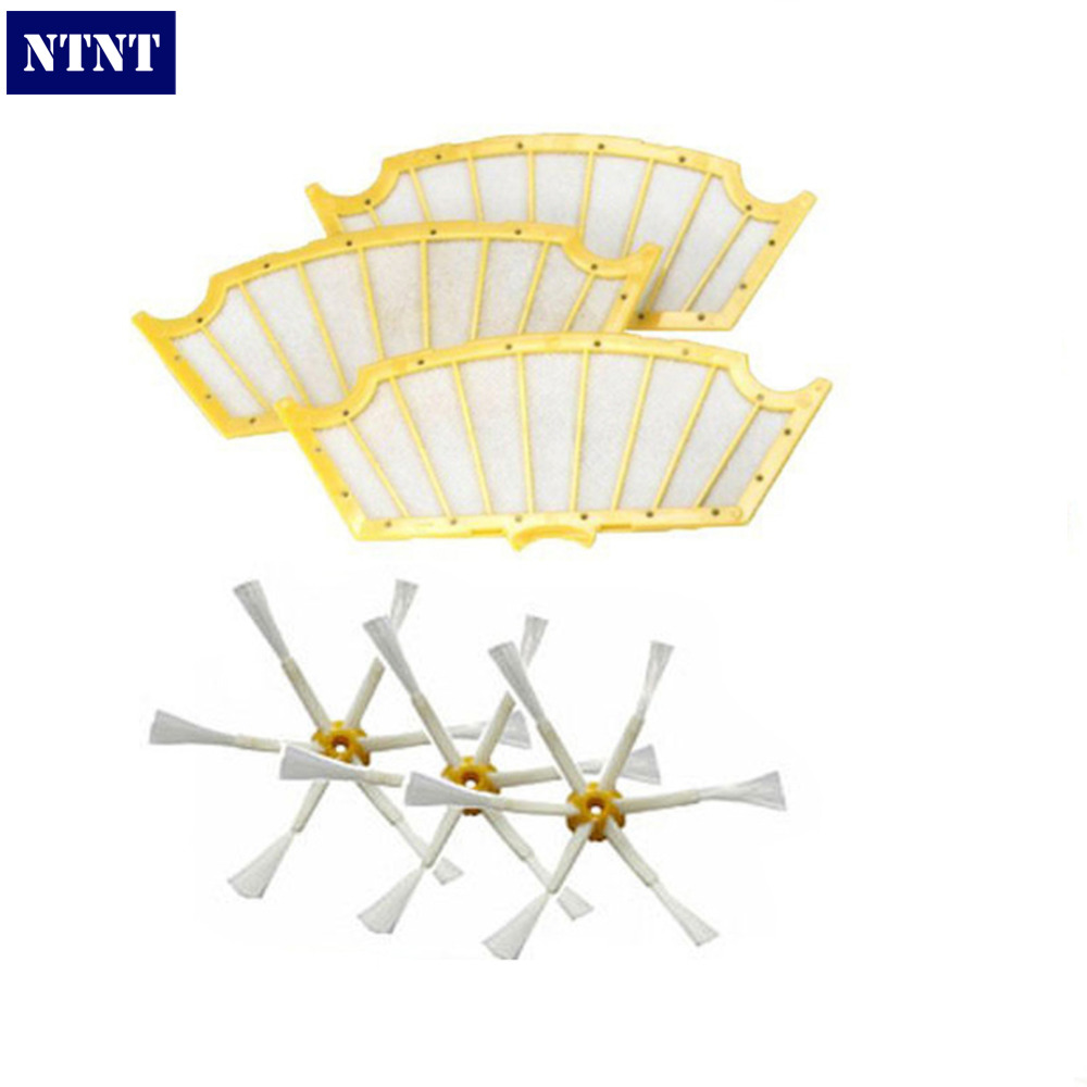NTNT 3 pack Filters+ Side Brush 6 Arms for iRobot Roomba 500 Series 530 550 560 570 3 filters 3 side brush 3 armed vacuum cleaner accessory kit for irobot roomba 500 series 530 540 550 560 570 580 610