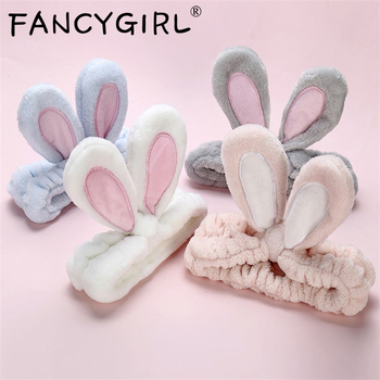 New Fashion Flannel Soft Bow Rabbit Ears Headband Women Girls Turban Cute Holder Hairbands Hair Band Headwear Hair Accessories