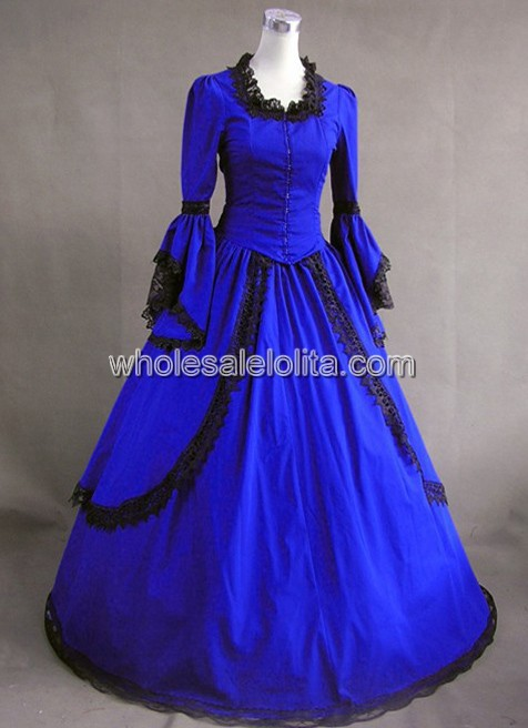 Dress À Vintage Royal Vendre Victorienne Bleu N8nkOZwX0P