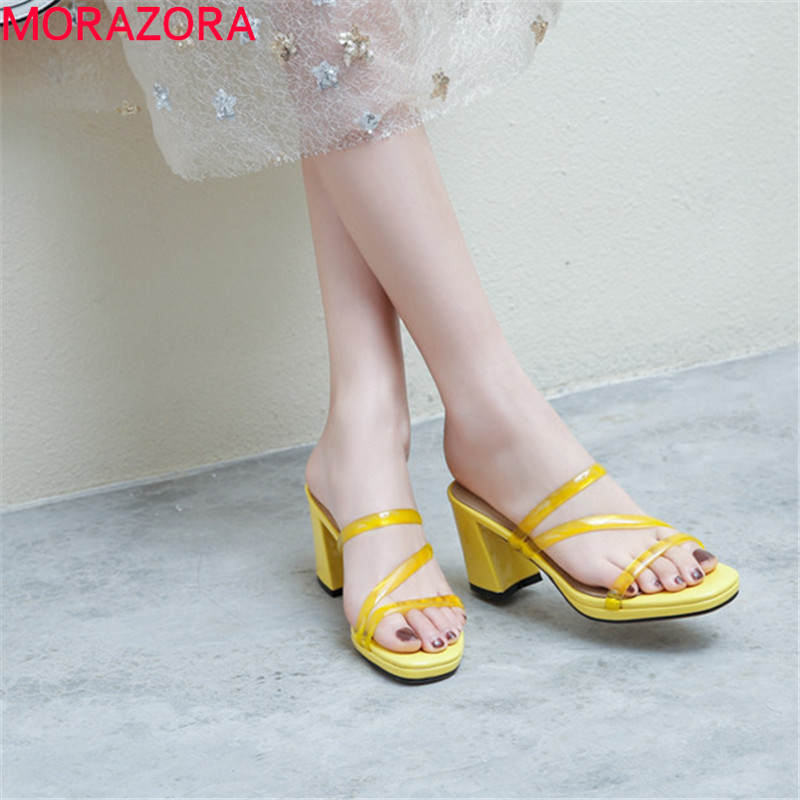 100% QualitäT Morazora 2019 Neueste Mode High Heels Schuhe Frauen Sandalen Transparent Pvc Sommer Schuhe Mode Einfache Party Prom Schuhe Frau