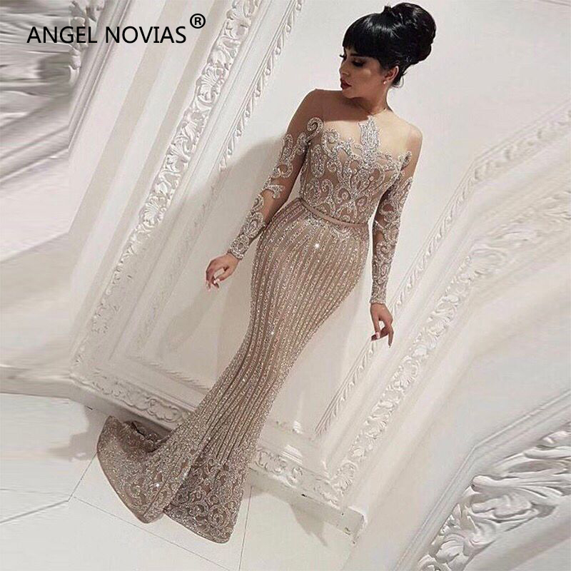 Long Sleeve Mermaid Arabic Dubai Woman Evening Dress 2018 Formal Elegant Prom Dress Party Gown abendkleider lang luxus(China)