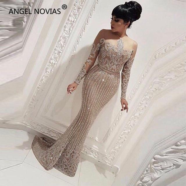342502aac2de0c Long Sleeve Mermaid Arabic Dubai Woman Evening Dress 2018 Formal Elegant Prom  Dress Party Gown abendkleider lang luxus