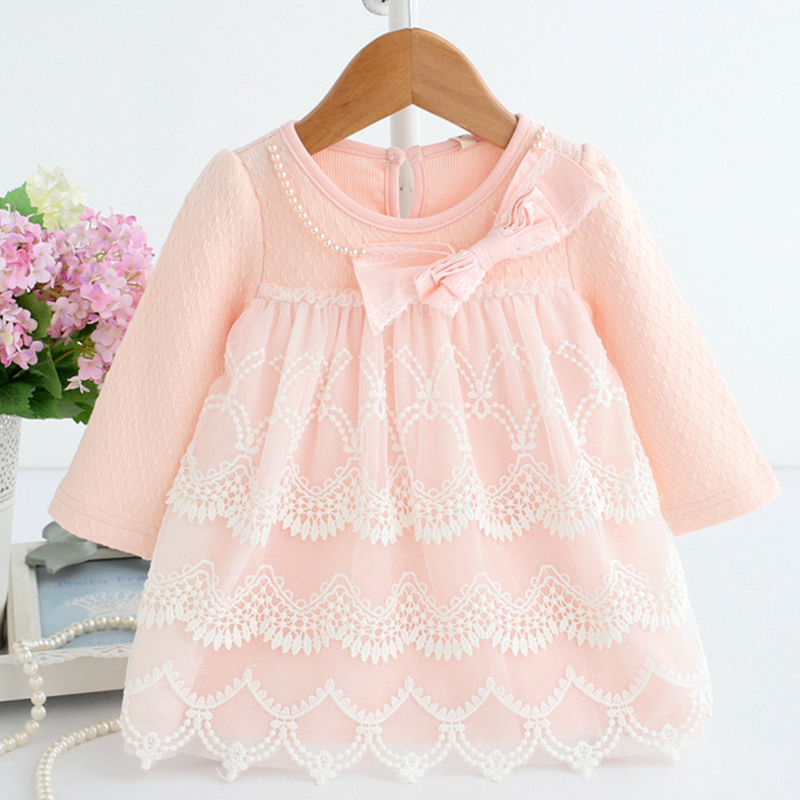 Baby Dress Long Sleeve Newborn Baby Baptism Ball Gown Tiered Lace Dresses with Bow Winter Clothes Birthday Girls Dress B014