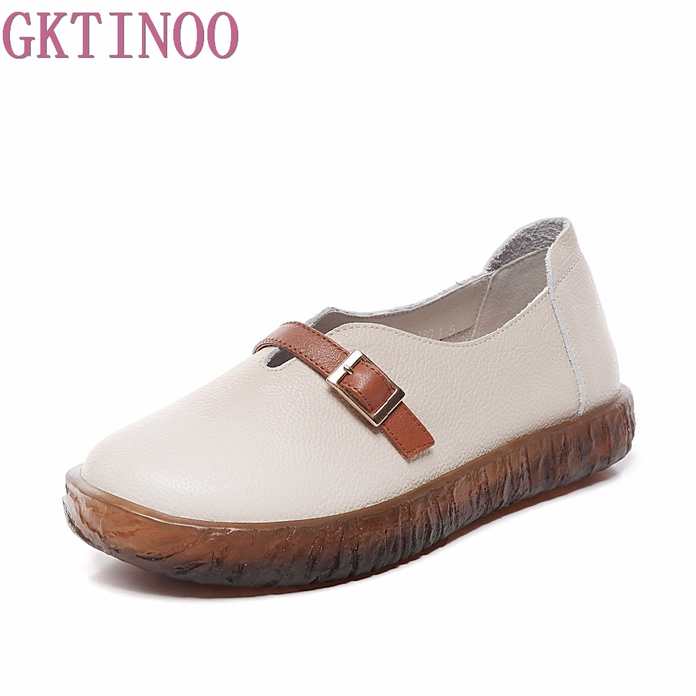 GKTINOO Handmade Shoes Woman 2018 Autumn Summer Cow Muscle Slip On Loafers Solid Genuine Leather Female Casual Shoes Flats 2018 new summer handmade breathable women s shoes genuine leather female hole loafers soft outsole casual shoes flats