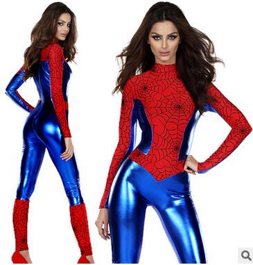 Red And blue  Spider-man Costume Woman Spandex Tights Printing Superhero Costume Lady Zentai Cosplay Costume