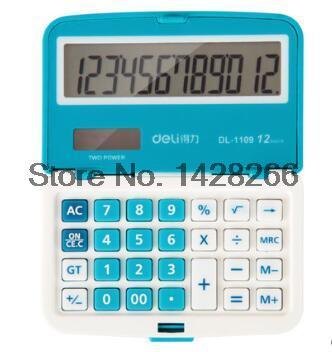 Deli 1109A Professional Office Electronics Mini Solar Calculator Candy Colors School Business 12 Digit Calculator Free