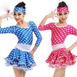 Обувь для девочек Купальник Латинской платье для танцев детское платье-пачка костюмы Дети Blue Dot партия Показать От 3 до 10 лет с длинными