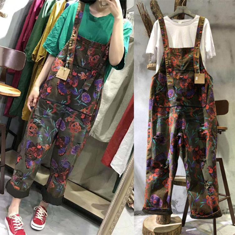 Free Shipping 2018 New Fashion Flower Print Overalls Denim Loose Jumpsuits And Rompers With Pockets Long Pants Spring Jumpsuits стоимость