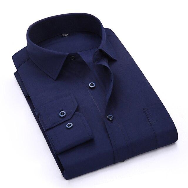 Spring Summer 2017 Men's Navy Blue Long Sleeve Work Shirt One-Pocket Plain/twill Fabric Available Business Formal Dress Shirts