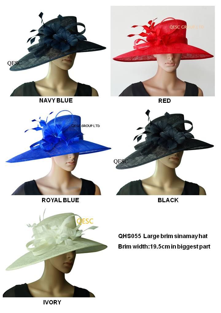 Wholesale 5 colour LARGE BRIM dress Sinamay women s hat Church hats for races Melbourne cup