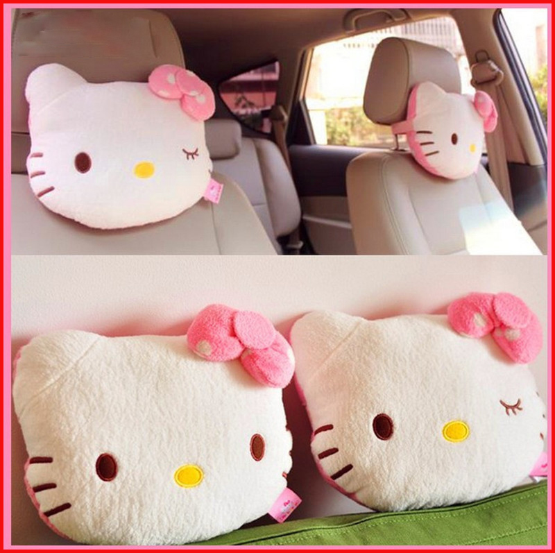 2Pcs Pink Hello Kitty Car Pillow Baby Car Headrest Neck Pillow Cartoon Plush Kids Child Car Headrest Car Seat Pillow Accessories