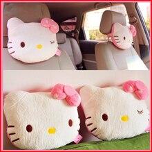 Oreiller de voiture rose Hello Kitty, 2 pièces, appui tête de voiture pour bébé, oreiller de cou en peluche pour enfants, accessoires de siège de voiture