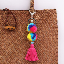 1pc Wholes Multicolor Pompons Keychain Tassel Key Ring Bag Charm Gift Car Pendant Car Accessorie