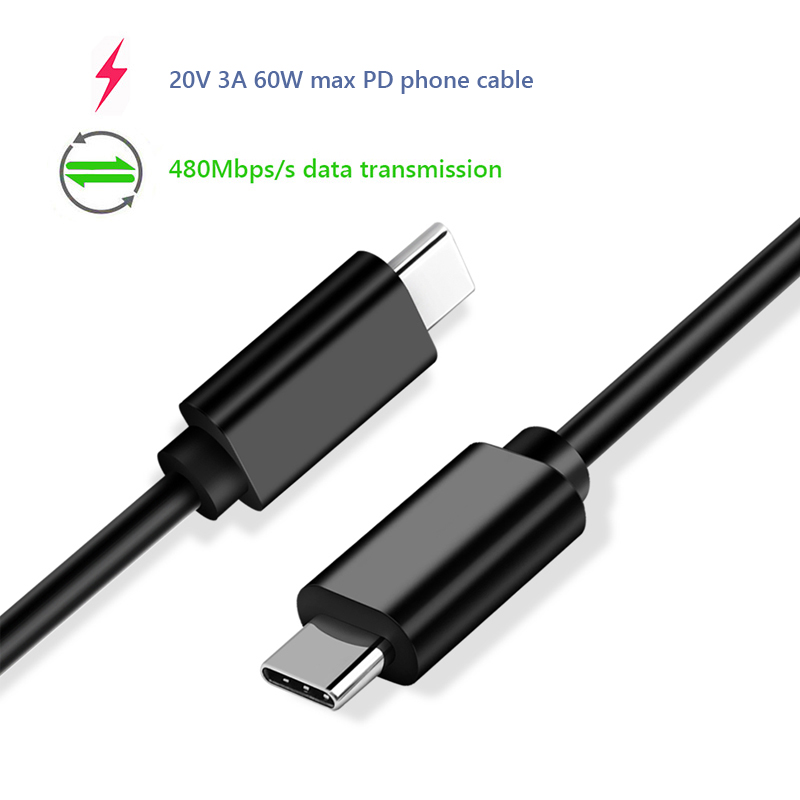 USB type C PD power delivery phone cable 20V 3A 60W fast quick charge data transmission