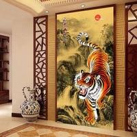 Tiger Down The Mountain DIY 5D Diamond Painting Cross Stitch Embroidery Kit Rhinestones Round Diamond Home
