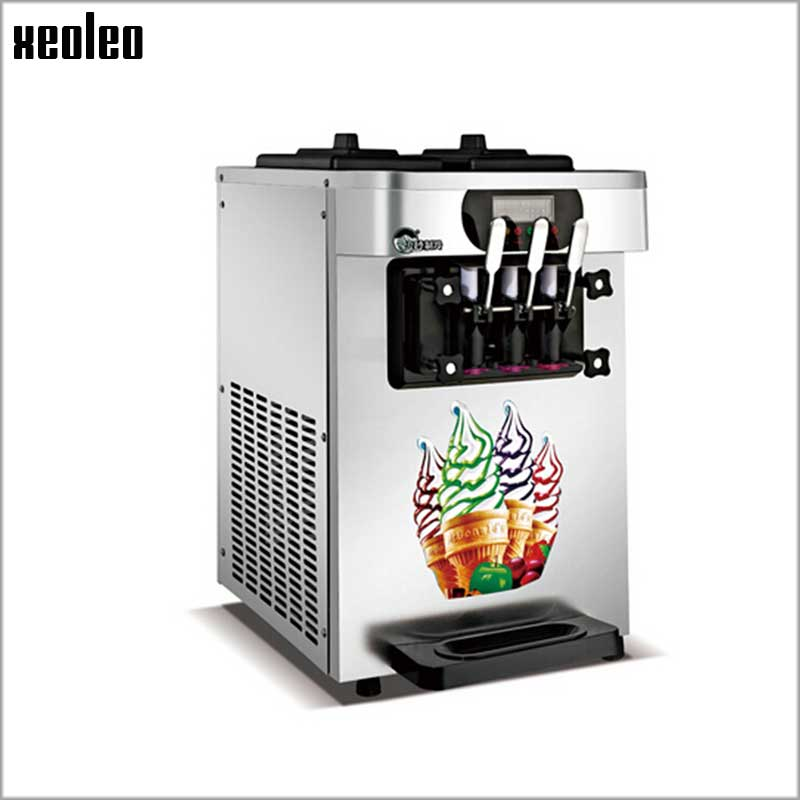 Xeoleo Stainless steel Soft Ice cream machine Desktops 3 Flavors Ice cream maker 18-22L/H 1900W Yogurt Ice cream 220V/110V R22