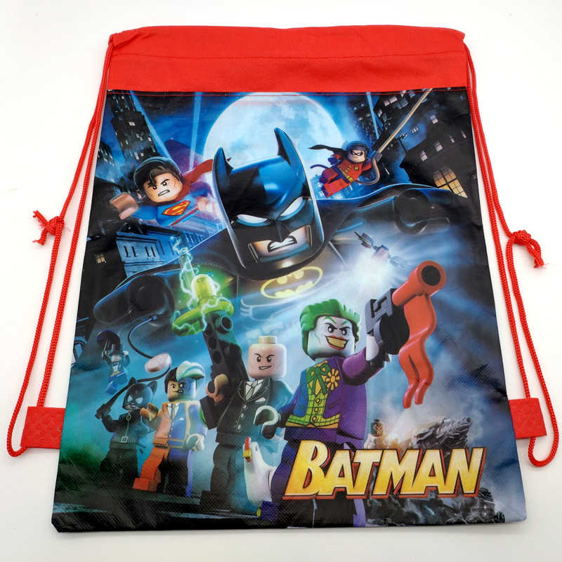 Boys Favors Batman Theme Backpack Happy Birthday Party Decoration Mochila Baby Shower Superman Drawstring Gifts Bags 1pcs/lot