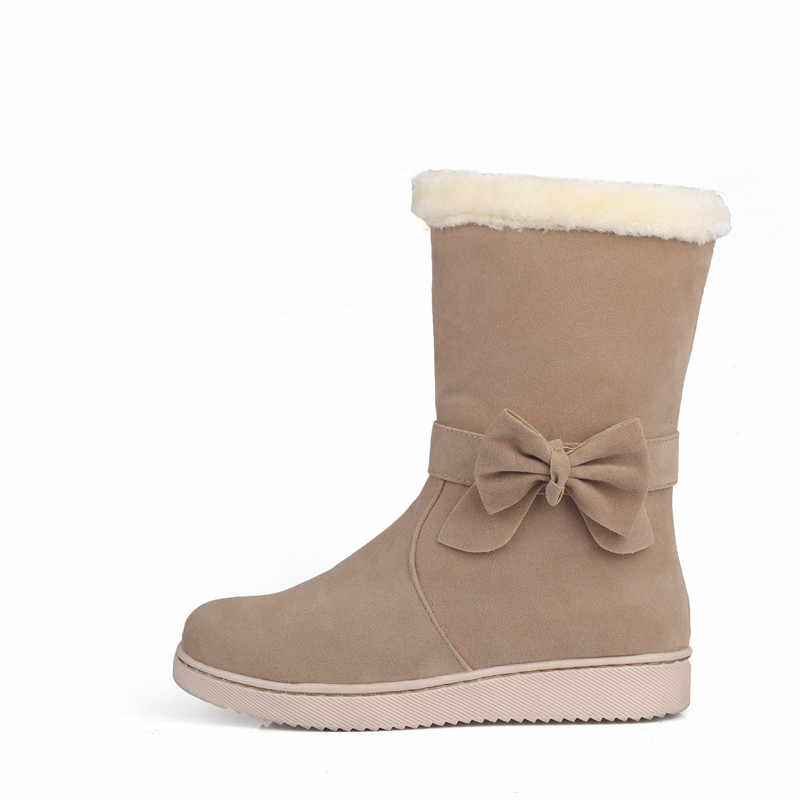 MoonMeek sıcak satış 2020 bayanlar kış sıcak kar botları kelebek düğüm akın kadın botları düşük topuk rahat düz yarım çizmeler