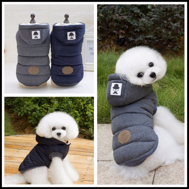 Two Feet Winter Dog Clothes Blue Grey Color S-xxl Size For Choice Super Warm And Soft Cotton Padded Dog Winter Pet Dog Jacket  4