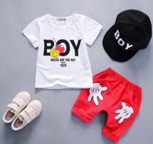 Children's Clothing 2019 Boy Summer Short-sleeved Fashion Suit 1-2-3-4 Baby Set Girl T-shirt +shorts Two-piece Set QHX028