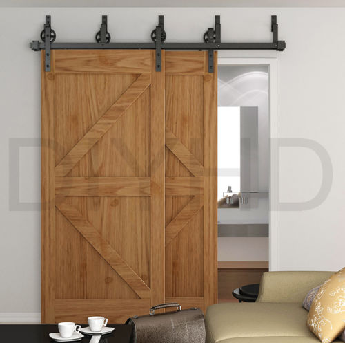Diyhd 8ft Lest Spoke Wheel One Piece Byp Bracket Sliding Barn Wood Door Hardware Set Track Kit In Doors From Home Improvement On Aliexpress