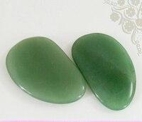 New Arrival Natural Green Jade Small Eyes Relax Stone Guasha Tool 2pcs