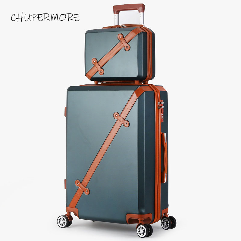 Chupermore Fashion Retro Rolling Luggage Sets Spinner Cute Suitcase Wheels 20 inch Women Carry On Travel Bags Password Trolley