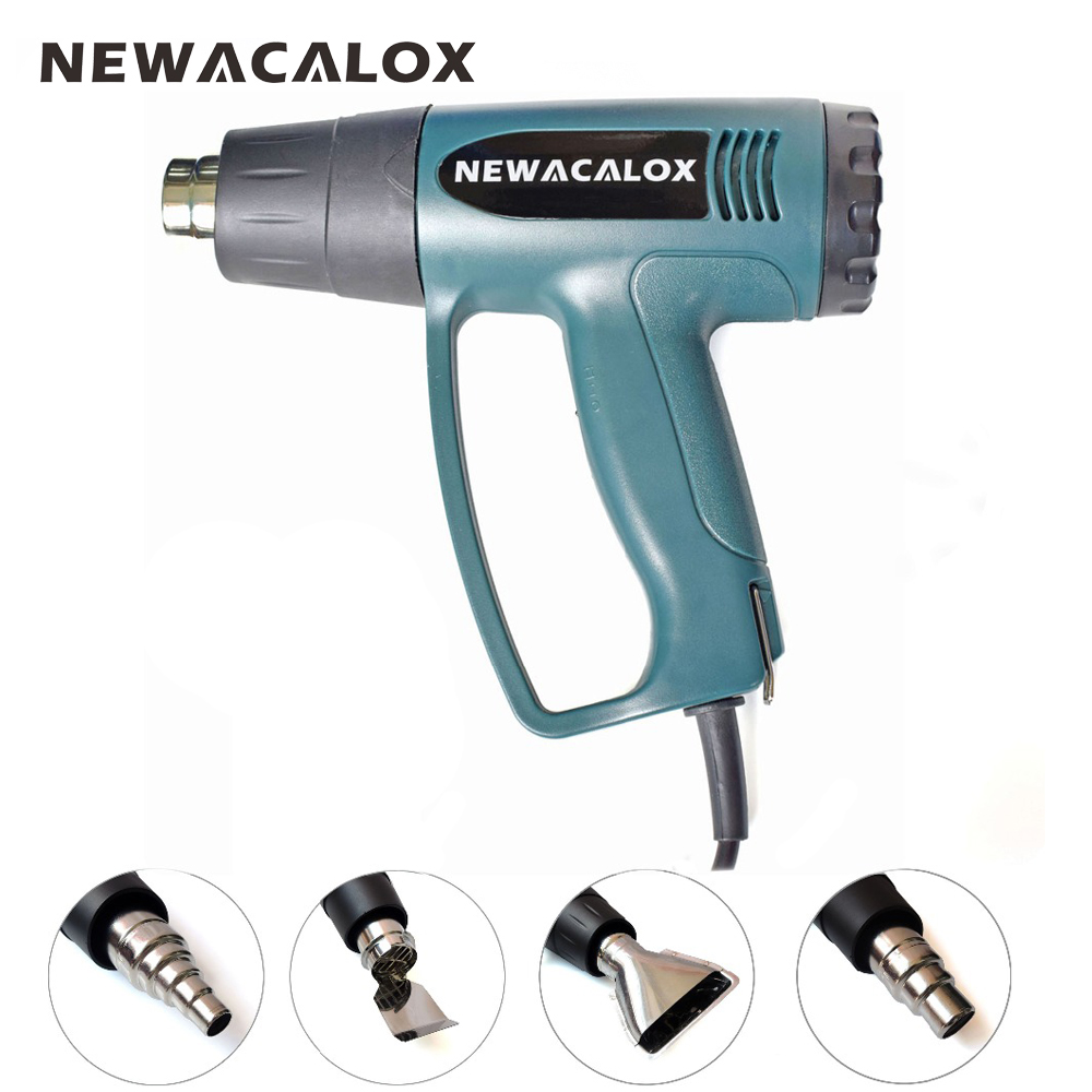 цена на NEWACALOX 2000W 220V EU Plug Industrial Electric Hot Air Gun Thermoregulator Heat Guns Shrink Wrapping Thermal Heater +4 Nozzles