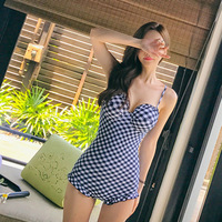 Red Net New Personalized Sexy Halter Swimsuit Siamese Lady Lattice Steel Support Small Chest Gathered Korean