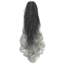 Soowee Black To Gray Synthetic Hair Curly Claw Hair Ponytail Ombre Color Pony Tail Hair Extensions Hairpiece Queue De Cheval