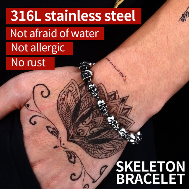 Devil skull biker bracelet