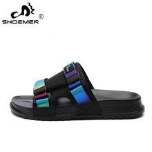 SHOEMER Summer Men Slides Beach Slippers Women Lightweight Flip Flops Men Outdoor Anti-Slip Slippers Sandals Unisex size 36-46