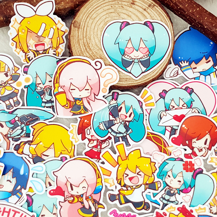 50PCS Anime Hatsune Miku Plastic Sticker Printed Scrapbooking Craft DIY Props