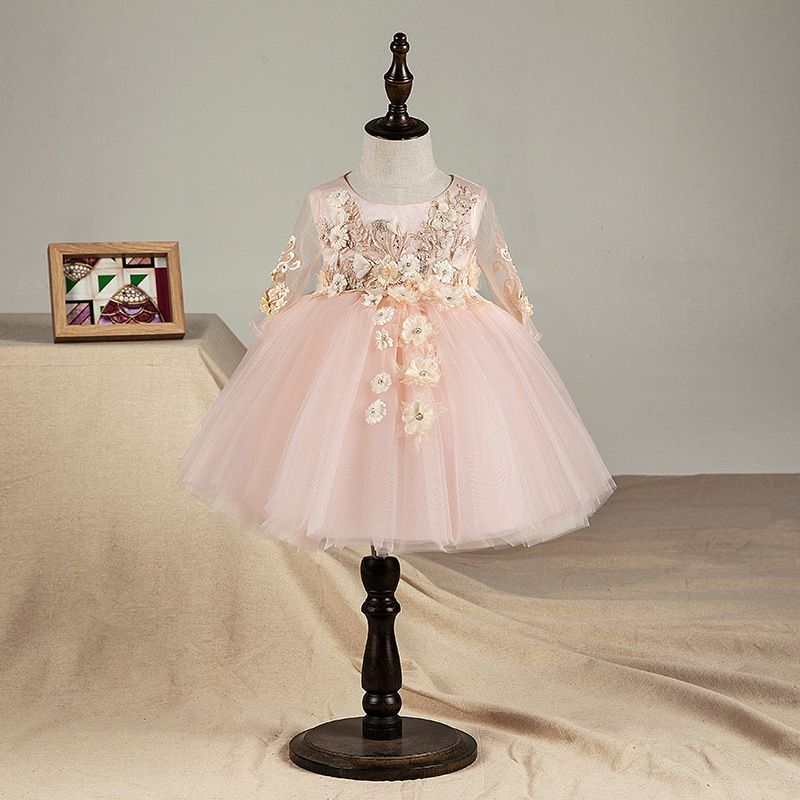 Top Quality Floral Newborn Baby Girl Christening Gown Pink Tulle Infant Girls Princess Baptism Dress Toddler
