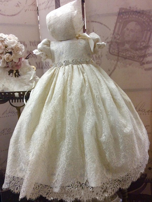 Baby Toddler Girls Christening Dress Formal Gown Solid White Bonnet Flower