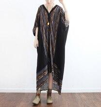 Qaturalan 2017 Robe Vintage Imprimé floral En Mousseline de Soie Femmes Dress D'été Style Chauve-Souris Manches longue femme Maxi Plus Size Dress