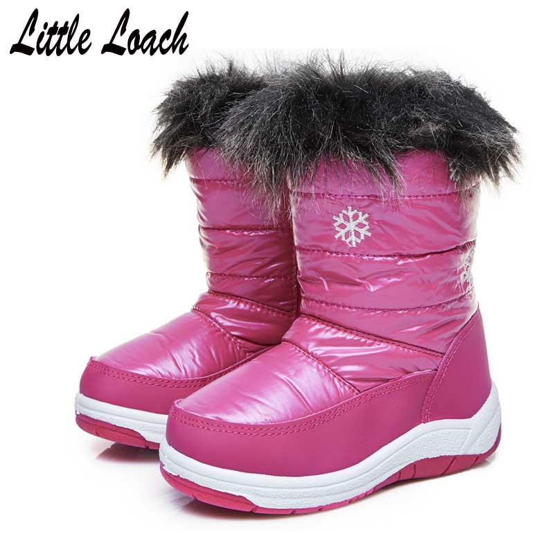 Children Winter Shoes Mid-calf Slip-resistant Warm Plush Kids Snow Boots Thick Outsole Flats Toddler Baby Botas Size22-38 Purple