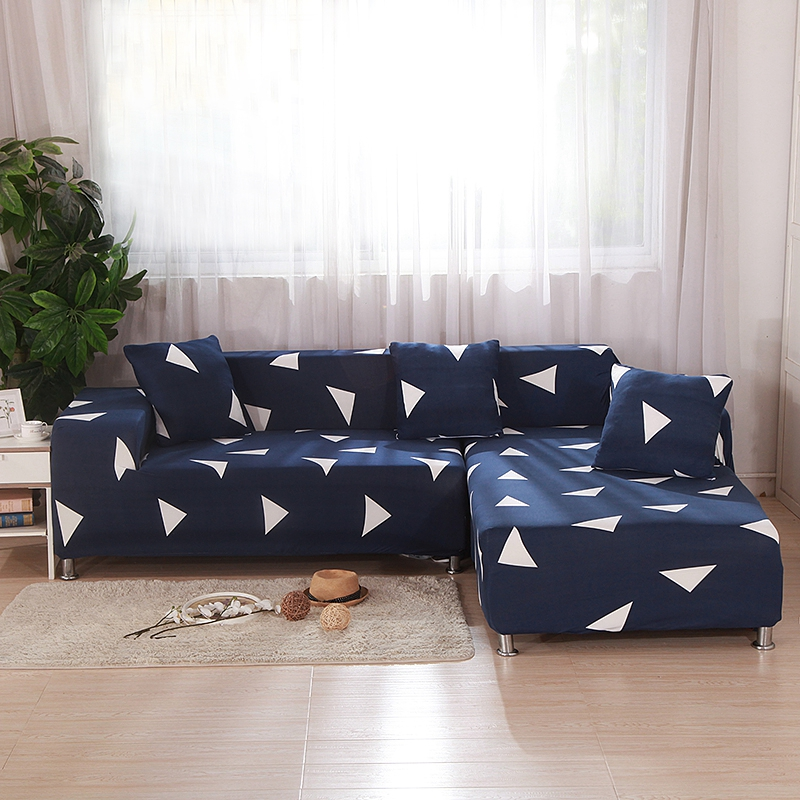 Blue Elastic L Shape Sofa Covers For Living Room White