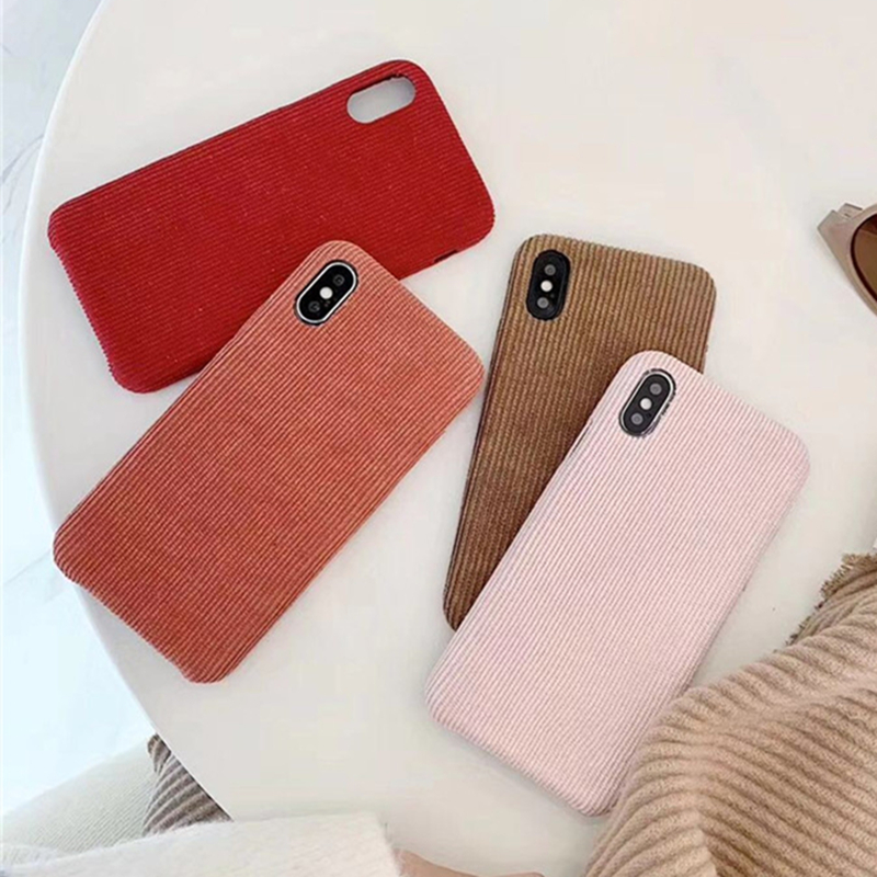 Winter Corduroy Cloth Phone Cases For iPhone X XR XS Max Case Fabric For iPhone 6 6S 7 8 Plus 11 Pro Max Cover Warm Pink Brown