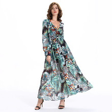 2017 New Summer Women Long Maxi Dress Fashion Casual Deep V-Neck Tropical Print Dresses Long Sleeve Holiday Beach Dress Vestidos