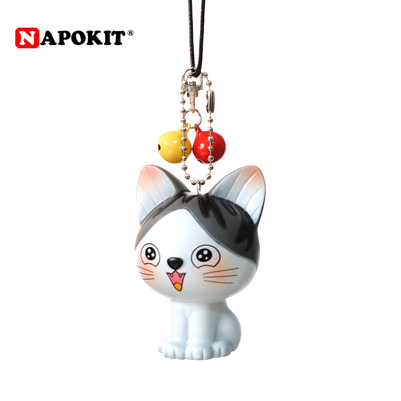 Car Ornament Lovely Cute Cat with Bells Doll Creative Auto Interior Rearview Mirror Decoration Hanging 3D Toy Car Accessories
