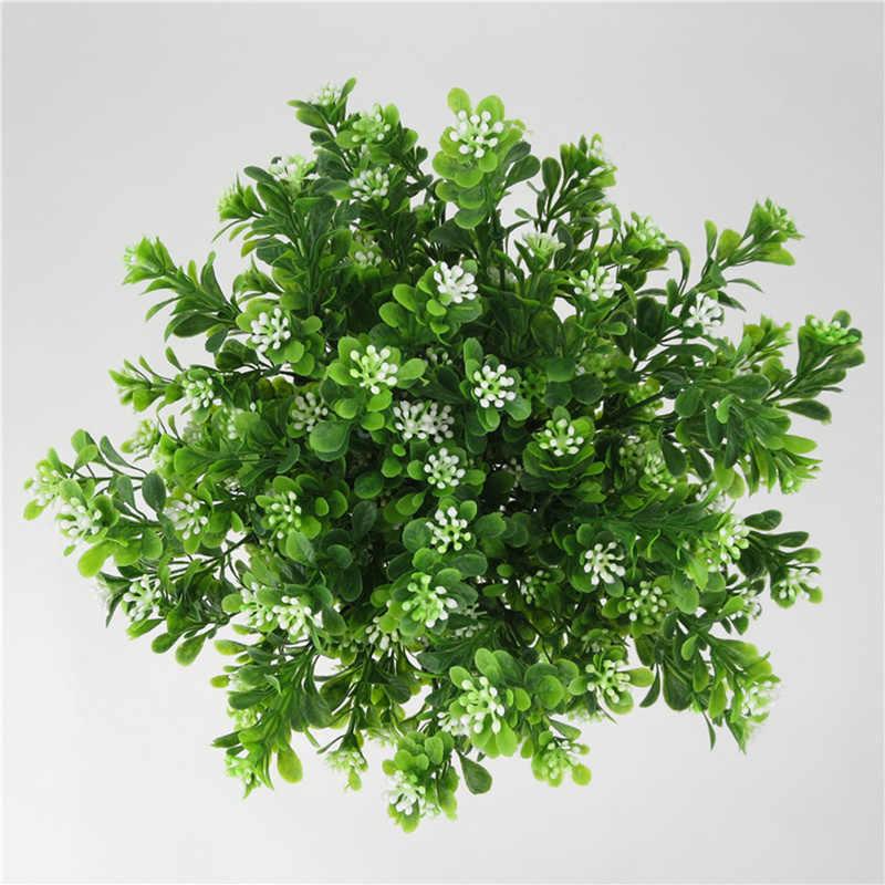 1 PC พลาสติกประดิษฐ์ 7 สาขาใบหญ้าปลอมพืชสีเขียว Faux Leaf ดอกไม้บ้านสวนตกแต่ง