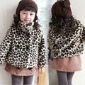 2015 девочка пальто мода зима стиль высокое качество леопардовый симпатичные дети верхняя одежда для девочки roupa infantis menina