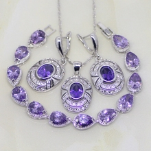 Round Shaped Purple Cubic Zirconia White CZ For Women 925 Sterling Silver Jewelry Sets Earrings/Pendant/Necklace/Bracelet T027