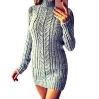 c0cf447d6 2019 Sexy Dress Sweater Turtleneck Autumn Knitted Sweater Women Winter Warm  Sweaters Ladies Slim Dresses Pullovers